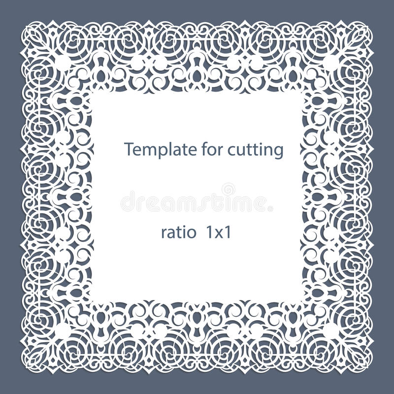 De groetkaart met openwork grens, document doily onder de cake, malplaatje voor knipsel, huwelijksuitnodiging, decoratieve plaat  vector illustratie