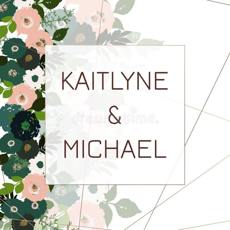 De groetkaart met rozen, kan als uitnodigingskaart voor huwelijk, verjaardag en andere vakantie en de zomerachtergrond worden geb royalty-vrije illustratie