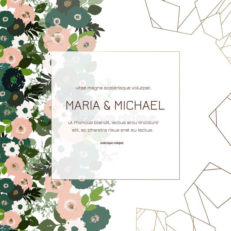 De groetkaart met rozen, kan als uitnodigingskaart voor huwelijk, verjaardag en andere vakantie en de zomerachtergrond worden geb stock illustratie