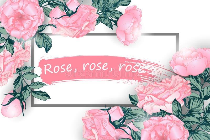 De groetkaart met rozen, kan als uitnodigingskaart voor huwelijk, verjaardags Vectorillustratie worden gebruikt stock illustratie