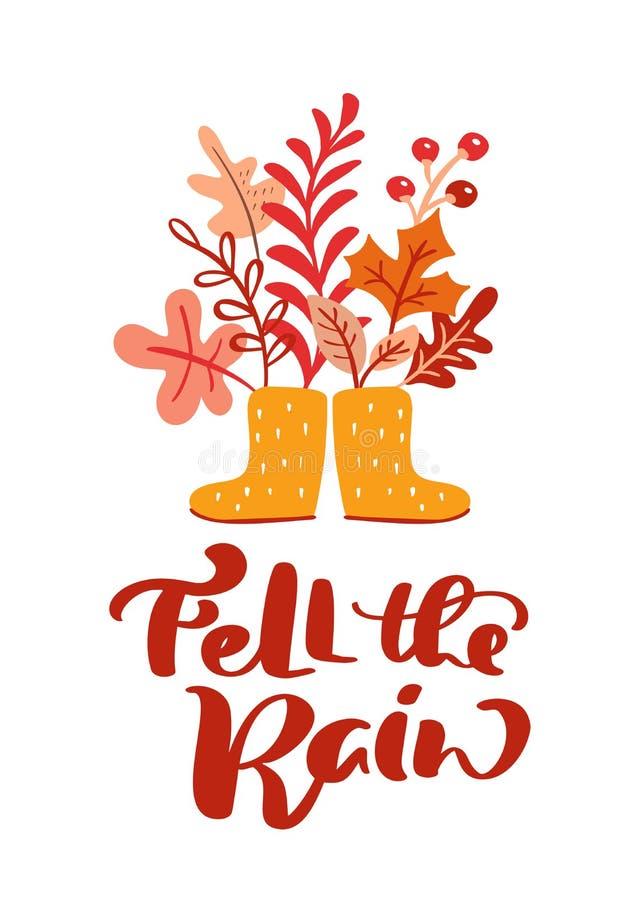 De groetkaart met tekst viel de Regen en de gele rubberlaarzen Oranje bladeren van esdoorn, november-gebladerte, eik en berk stock illustratie