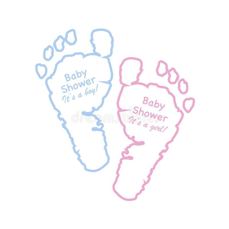 De groetkaart van de babydouche De drukken van de babyvoet Het blauw kleurde en het roze kleurde voetdrukken met de tekst 'van de royalty-vrije illustratie