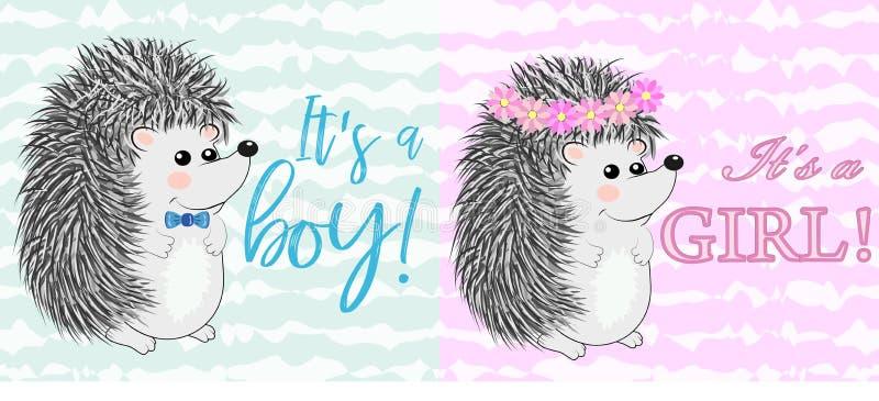 De groetkaart van de babydouche met babysjongen en meisje vector illustratie