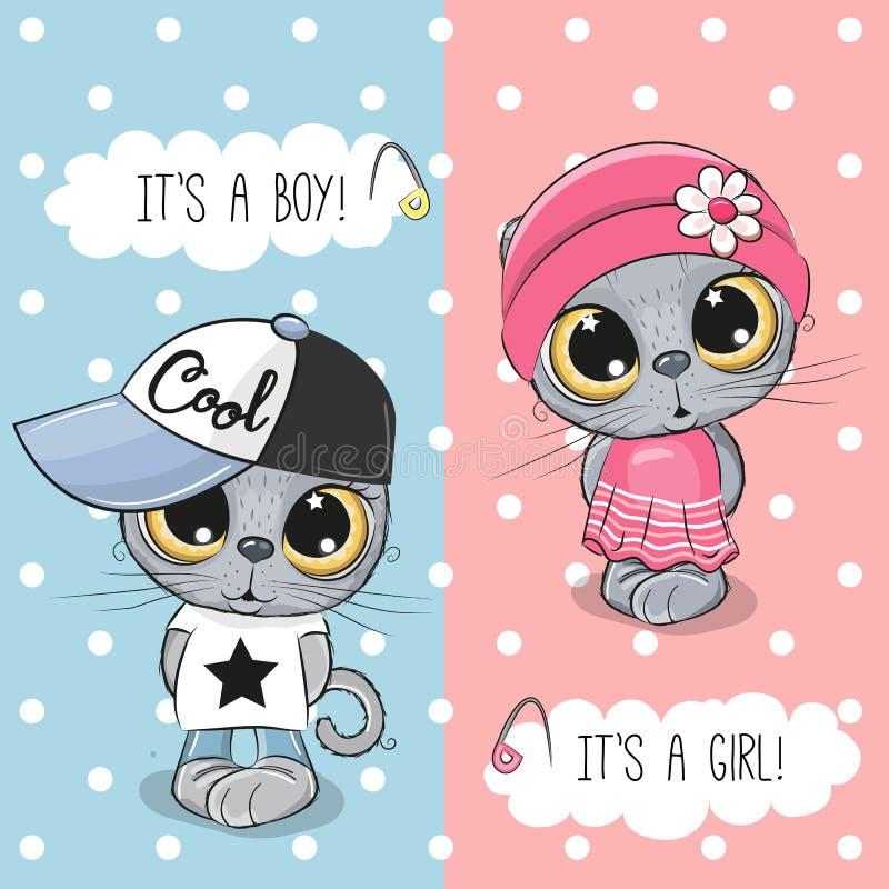 De groetkaart van de babydouche met Katjesjongen en meisje vector illustratie