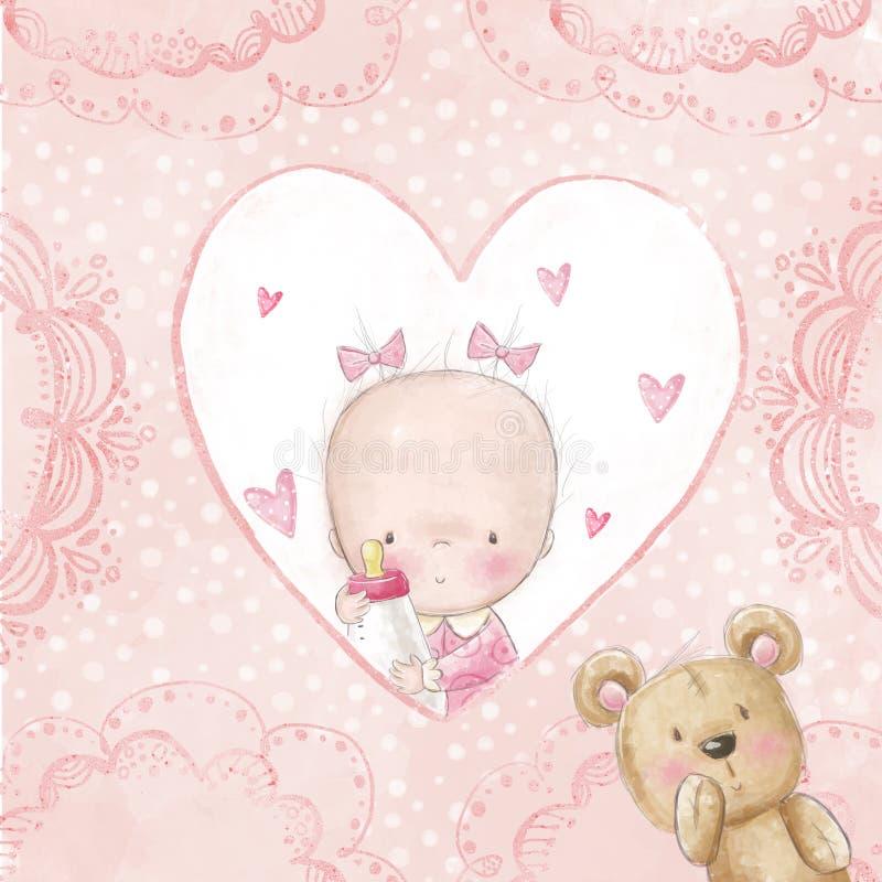De groetkaart van de babydouche Babymeisje met teddy, Liefdeachtergrond voor kinderen Doopseluitnodiging Pasgeboren kaartontwerp stock illustratie