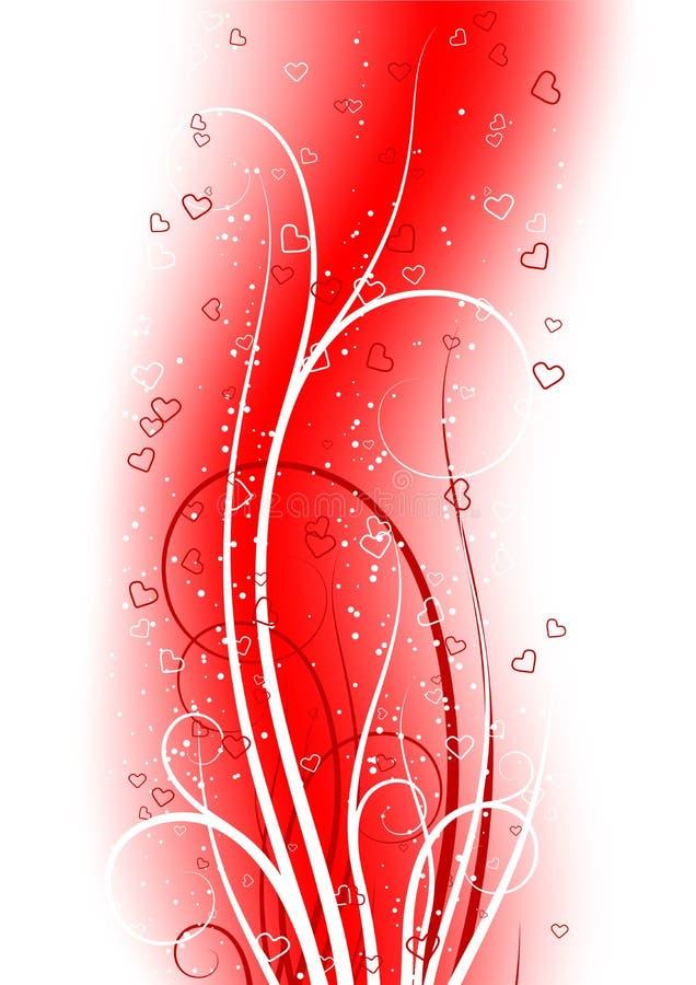 De groetkaart van de Dag van de valentijnskaart met rolhart op abstracte rug stock illustratie