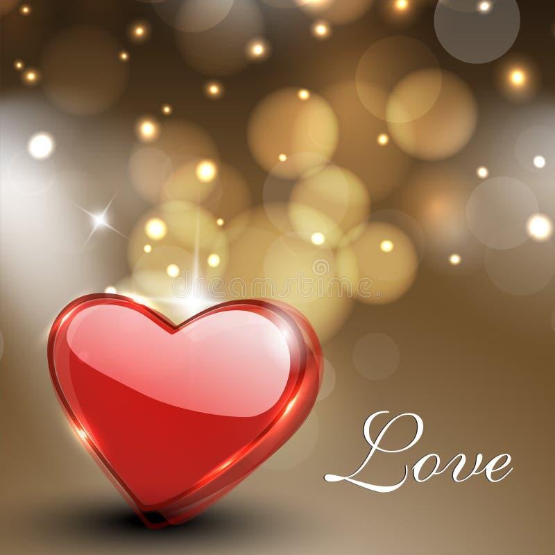 De groetkaart van de Dag van valentijnskaarten, giftkaart of achtergrond met glans royalty-vrije illustratie