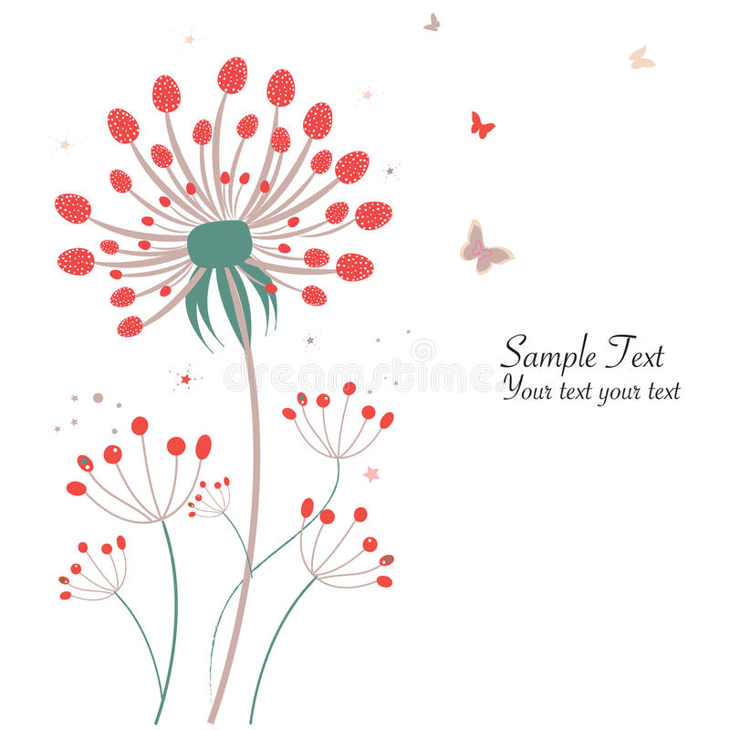 De groetkaart van de de lente bloemenpaardebloem vector illustratie