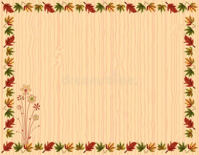 De groetkaart van de herfst met bladerengrens vector illustratie