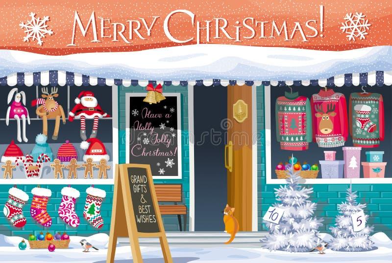 De groetkaart van de Kerstmismarkt royalty-vrije illustratie