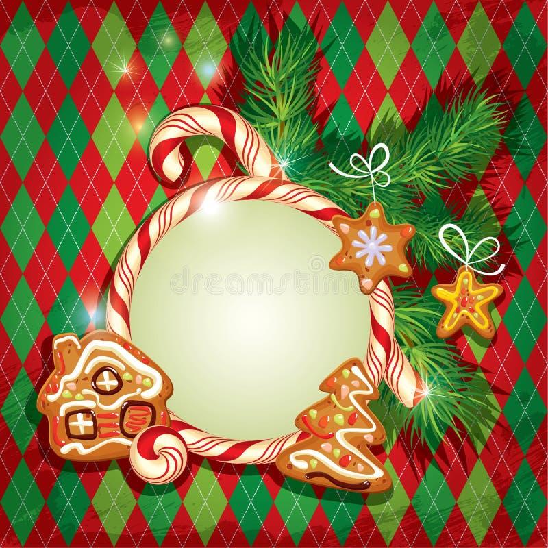 De groetkaart van de nieuwjaarvakantie met Kerstmispeperkoek royalty-vrije illustratie