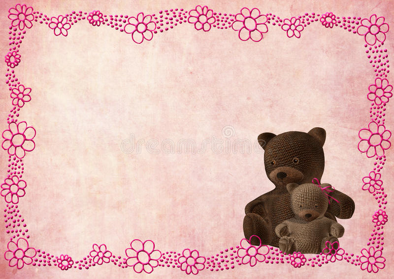 De groetkaart van de teddybeer met roze bloemen royalty-vrije illustratie