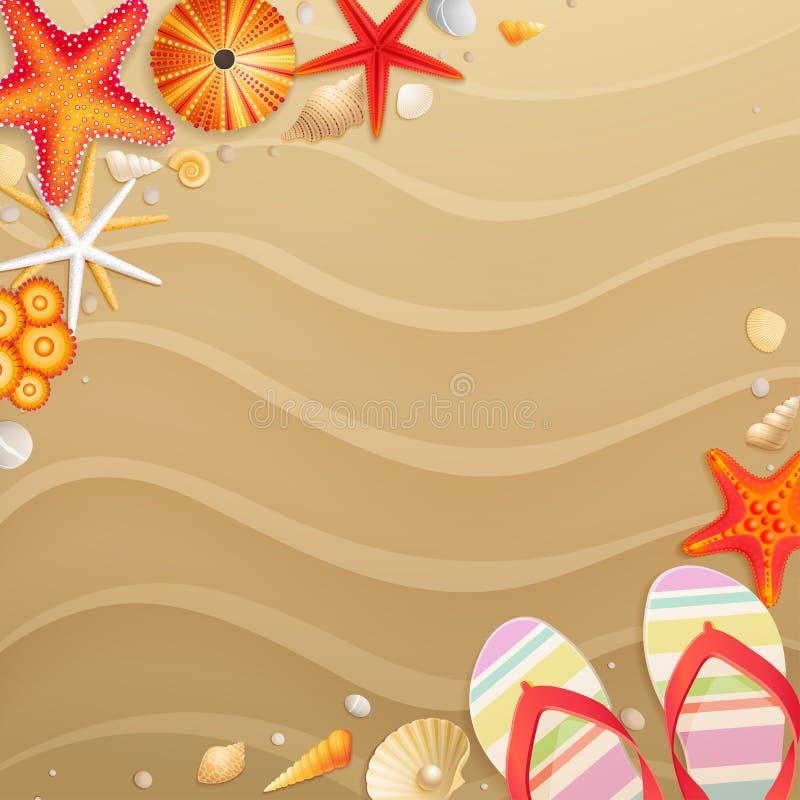 De groetkaart van de vakantie met shells royalty-vrije illustratie