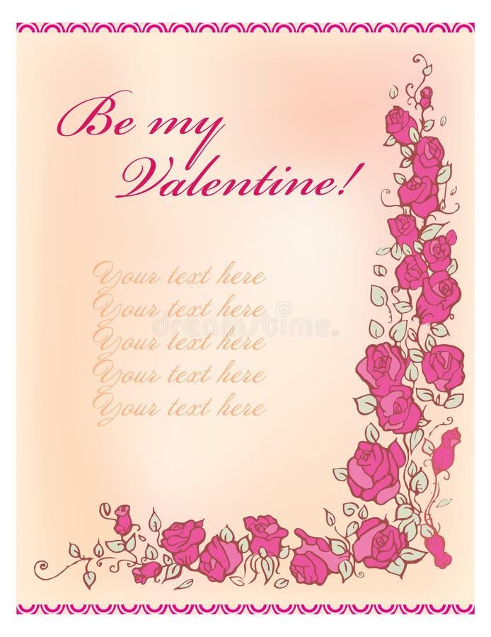 De groetkaart van de valentijnskaart royalty-vrije illustratie