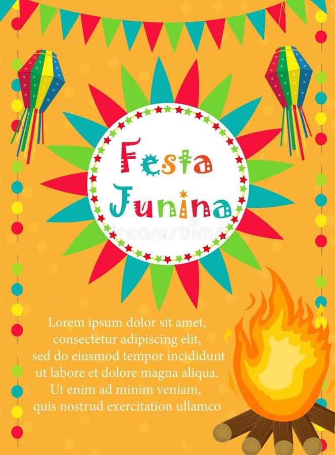De groetkaart van Festajunina, uitnodiging, affiche Braziliaans Latijns-Amerikaans festivalmalplaatje voor uw ontwerp Vector royalty-vrije illustratie