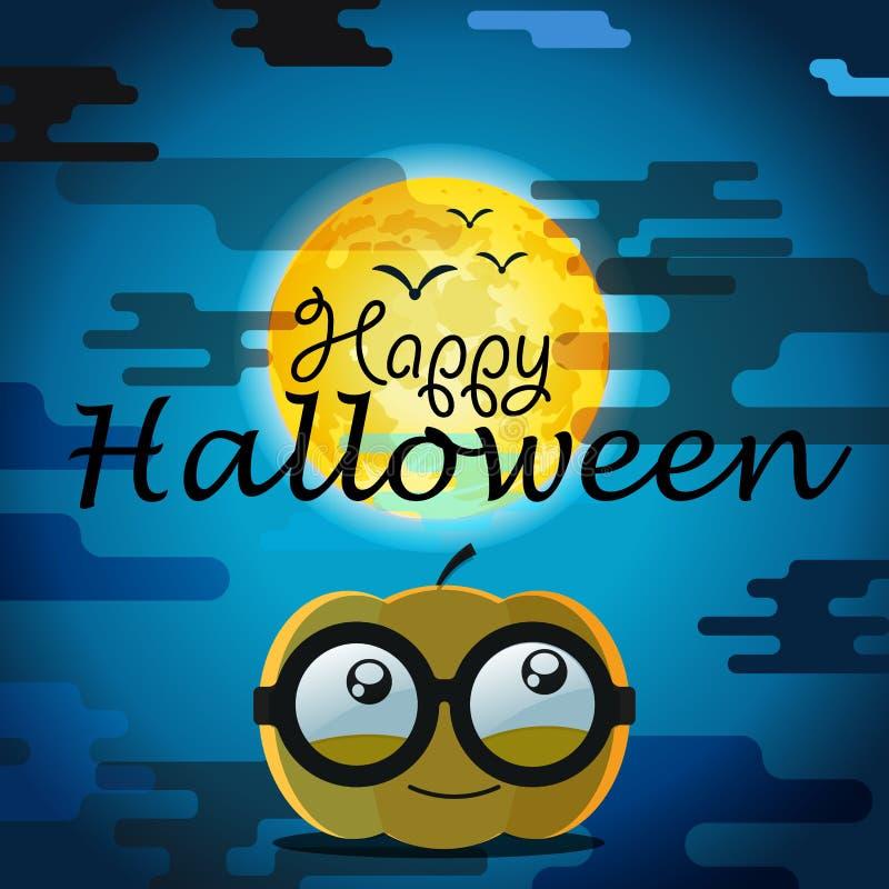 De groetkaart van Halloween met pompoen stock illustratie