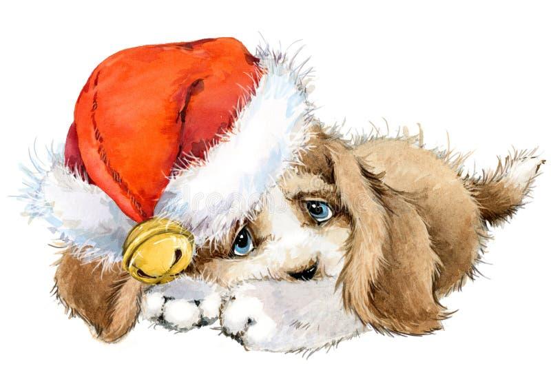 De groetkaart van het hondjaar de leuke illustratie van de puppywaterverf stock illustratie