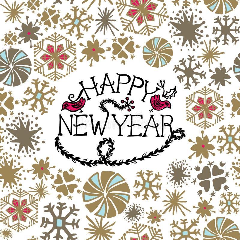 De groetkaart van het nieuwjaar met hand het getrokken van letters voorzien en sneeuwvlokken royalty-vrije illustratie