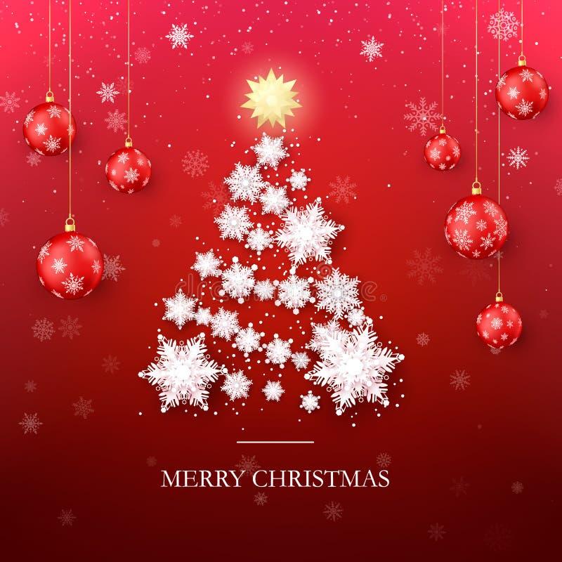 De groetkaart van de kerstboom Het Silhouet van de nieuwjaarboom van Document Sneeuwvlokken en Rode Kerstmisballen op Achtergrond royalty-vrije illustratie