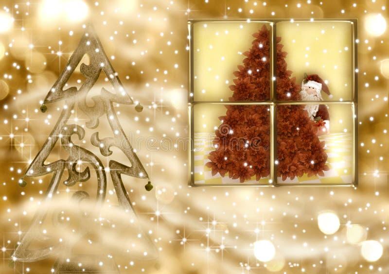 De groetkaart van Kerstmis, de gouden avond van de Kerstman stock illustratie