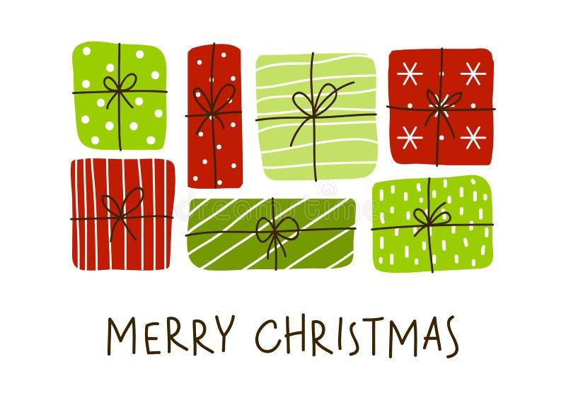 De groetkaart van Kerstmis met giftdozen stock illustratie