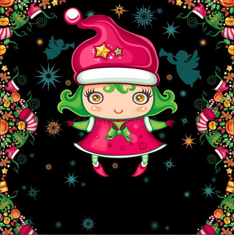De groetkaart van Kerstmis met meisje stock illustratie