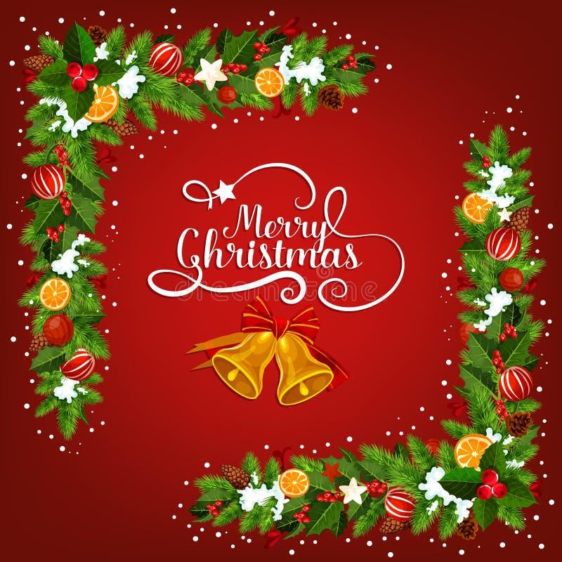 De groetkaart van de Kerstmisklok met slingerhoek stock illustratie