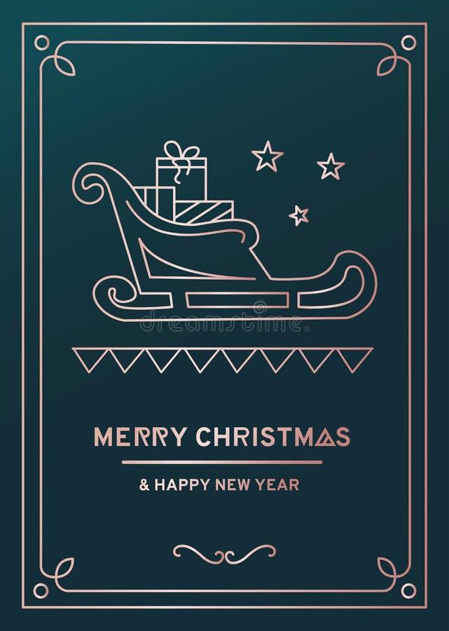 De groetkaart van luxekerstmis met roze gouden lijnen, mooie groene achtergrond en krabbels royalty-vrije illustratie