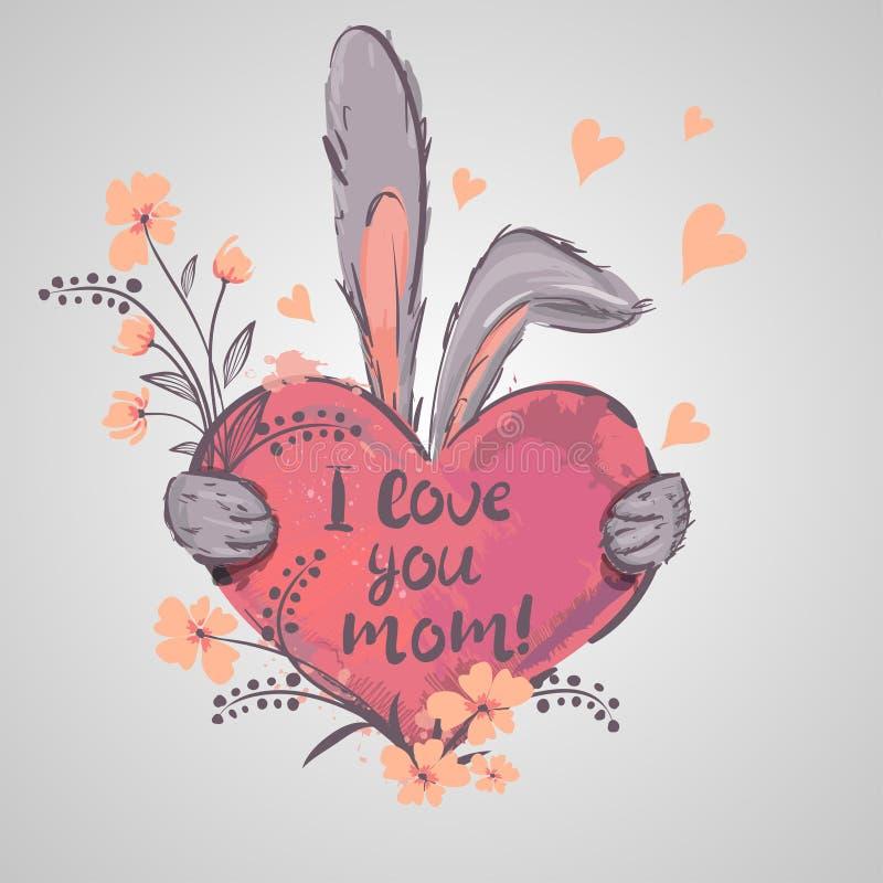 De Groetkaart van de moeder` s Dag Het hart van de konijnholding Het mamma u is de beste I-liefde u mamma vector illustratie