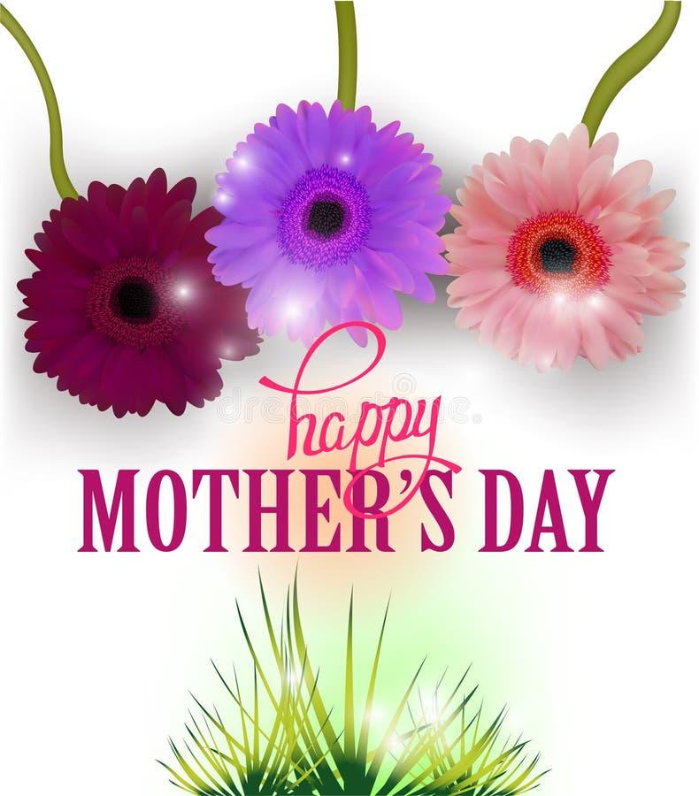 De groetkaart van de moeder` s dag met mooi gerberas en gras royalty-vrije illustratie