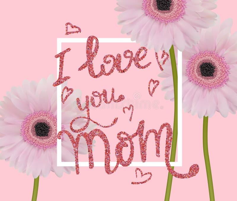 De groetkaart van de moeder` s dag met mooie gerberas en hand wrawn titel stock illustratie