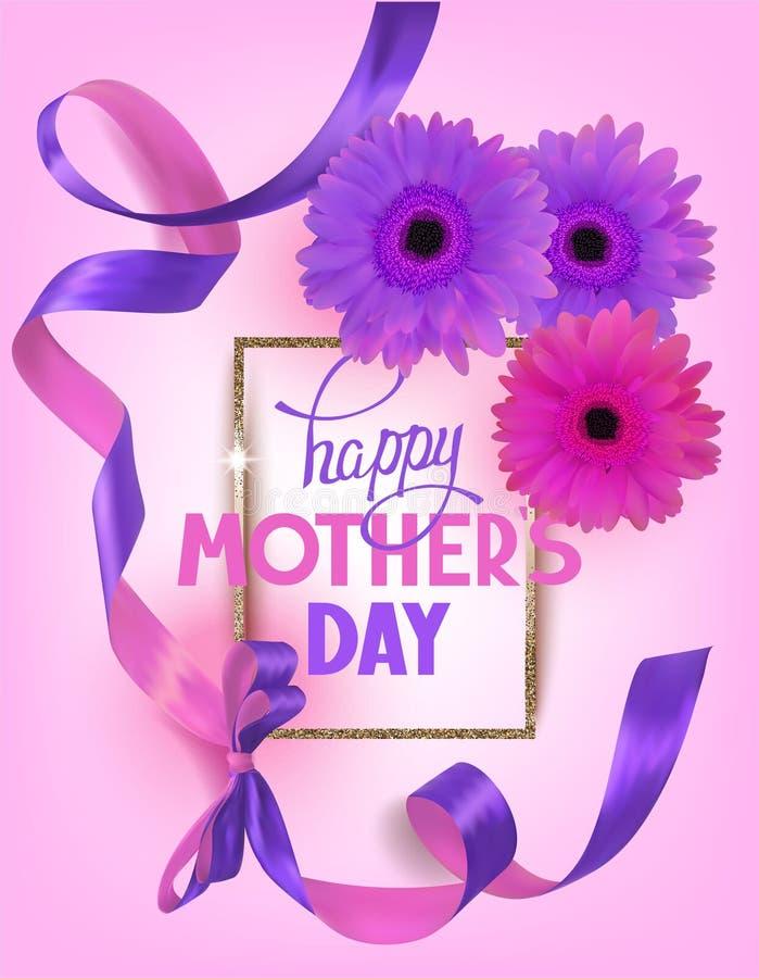 De groetkaart van de moeder` s dag met mooie gerberas en linten vector illustratie