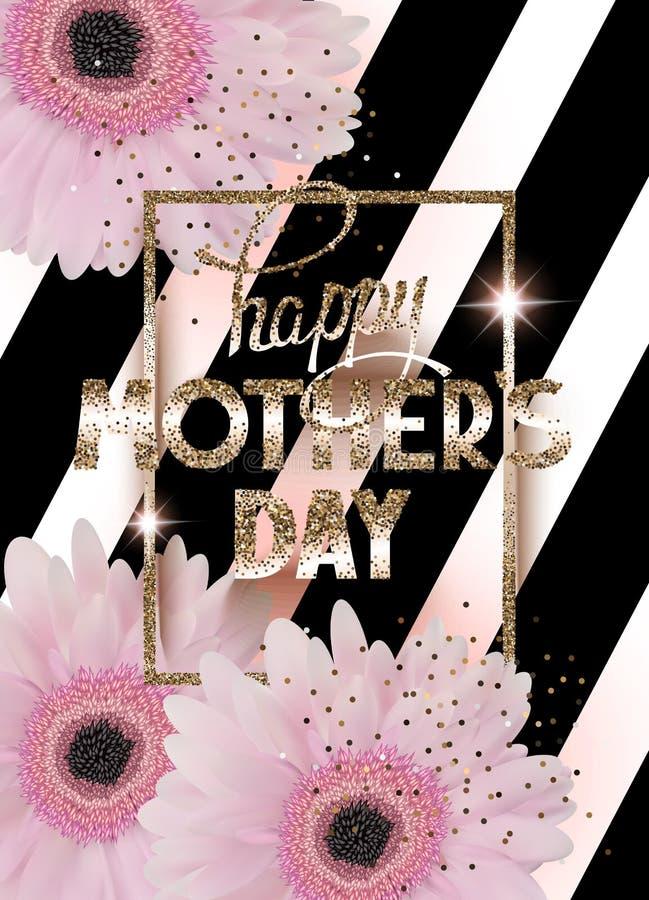 De groetkaart van de moeder` s dag met mooie gerberas, gouden kader en gestreepte achtergrond stock illustratie