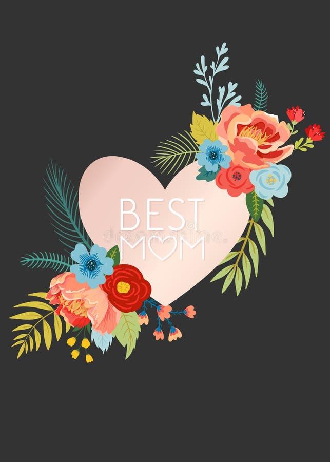 De Groetkaart van de moedersdag met Bloemenboeket De gelukkige Bloemenbanner van de Moederdag met Hart Beste Mammaaffiche, de Vli stock illustratie