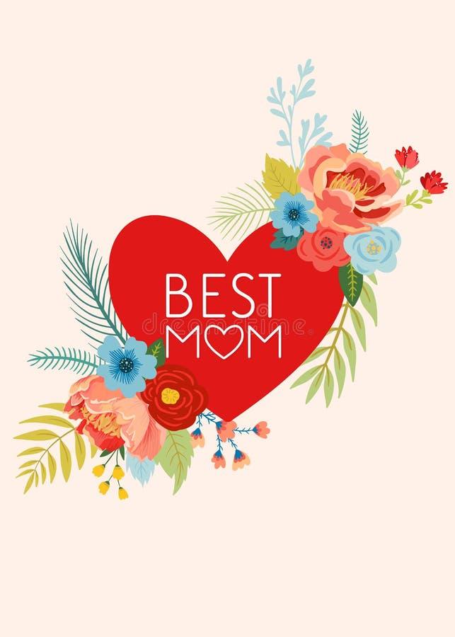 De Groetkaart van de moedersdag met Bloemenboeket De gelukkige Bloemenbanner van de Moederdag met Hart Beste Mammaaffiche, de Vli royalty-vrije illustratie