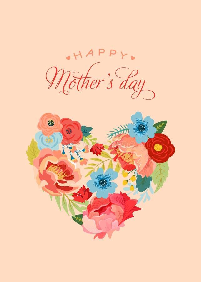 De Groetkaart van de moedersdag met Bloemenboeket De gelukkige Bloemenbanner van de Moederdag met Hart Beste Mammaaffiche, de Vli vector illustratie