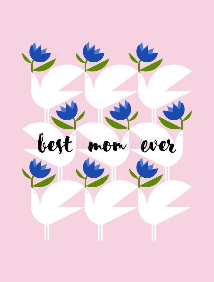 De groetkaart van de moedersdag met elegant van letters voorziend beste mamma ooit en vogels royalty-vrije illustratie