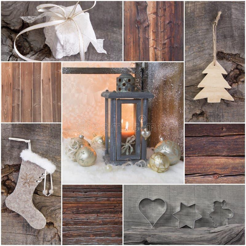 De groetkaart van mozaïekkerstmis met hout, gift, heden, boom stock foto