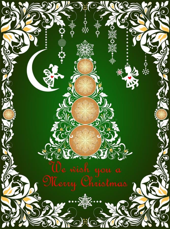 De groetkaart van overladen ambacht verwijderde de groene Kerstmis met bloemendocument grens, het hangen met de hand gemaakte doc royalty-vrije illustratie