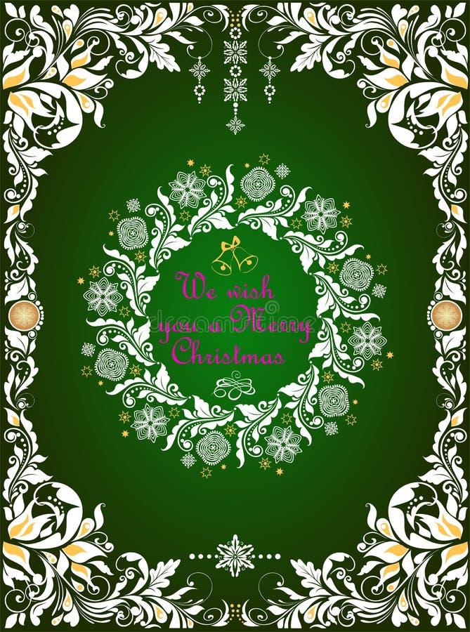 De groetkaart van overladen ambacht verwijderde de groene Kerstmis met wit bloemendocument grens en Kerstmiskroon met met de hand stock illustratie