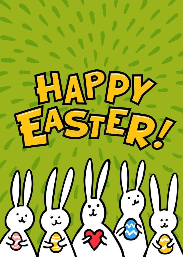 De groetkaart van Pasen Gelukkige Pasen-inschrijving en leuke witte konijntjes op groene achtergrond Vector illustratie royalty-vrije illustratie