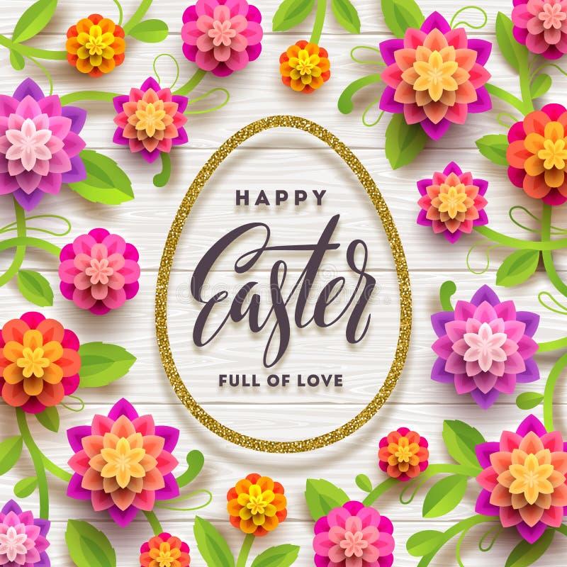De groetkaart van Pasen Schittert de kalligrafische groet van Pasen binnen goud ei-vormige kader en document bloemen vector illustratie