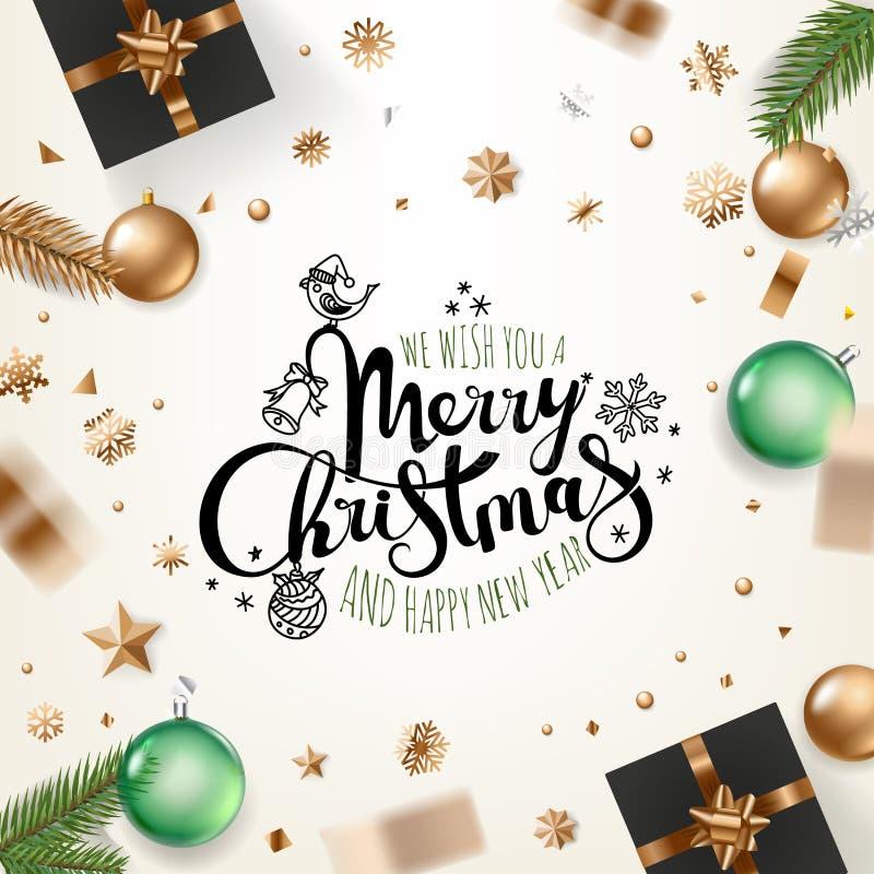 De groetkaart van de vakantie Vrolijke Kerstmis royalty-vrije illustratie