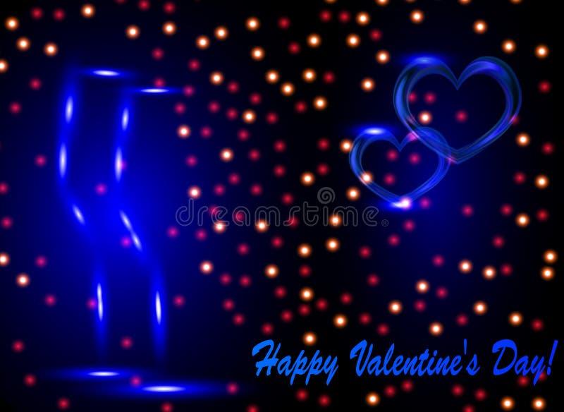 De groetkaart van Valentine met twee glazen vector illustratie