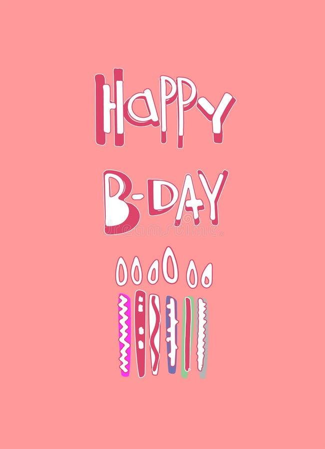 De groetkaart van de verjaardag Hand het getrokken van letters voorzien en kaarsen op een gevoelige roze achtergrond stock illustratie