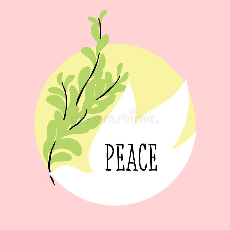 De groetkaart van de vredesdag met vliegende de olijftak van de duifholding vector illustratie