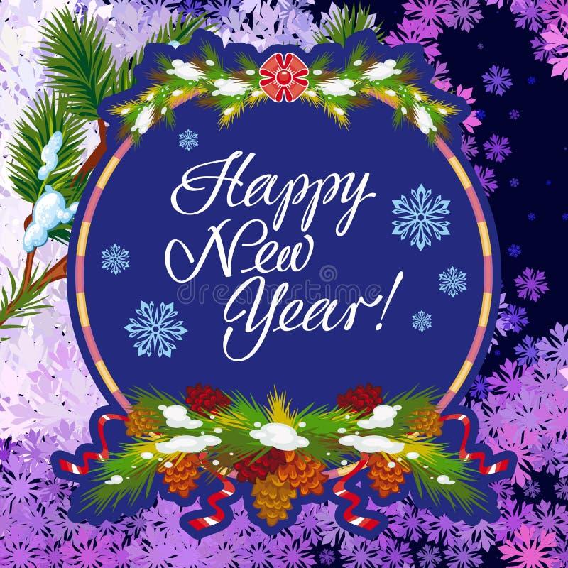 De groetkaart van de de wintervakantie met Kerstmisdecoratie en artistieke geschreven teksten ` Gelukkig Nieuwjaar! ` royalty-vrije illustratie