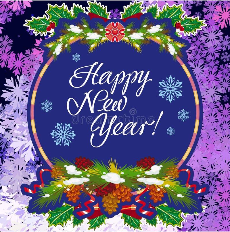 De groetkaart van de de wintervakantie met Kerstmisdecoratie en artistieke geschreven teksten ` Gelukkig Nieuwjaar! ` stock illustratie