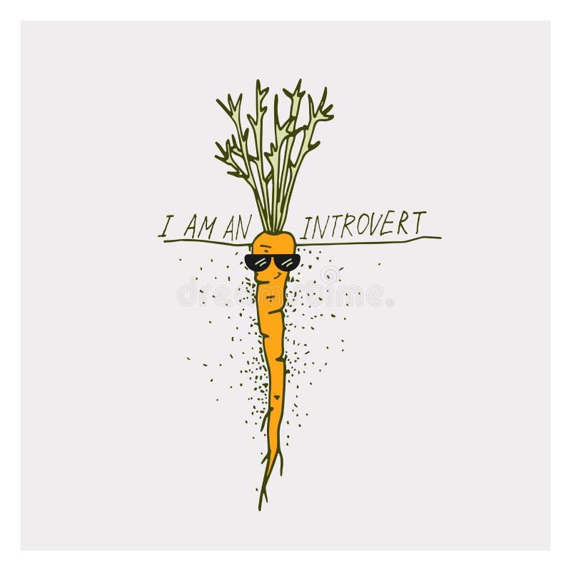 De groetkaarten met wortel en motivatie drukken ik ben een introvert op een heldere achtergrond uit vector illustratie