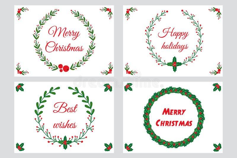 De groetkaarten van Kerstmis stock illustratie